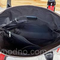 Жіноча шкіряна сумка зі структурою крокодила чорного кольору, фото 7