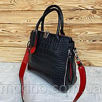 Жіноча шкіряна сумка зі структурою крокодила чорного кольору, фото 4