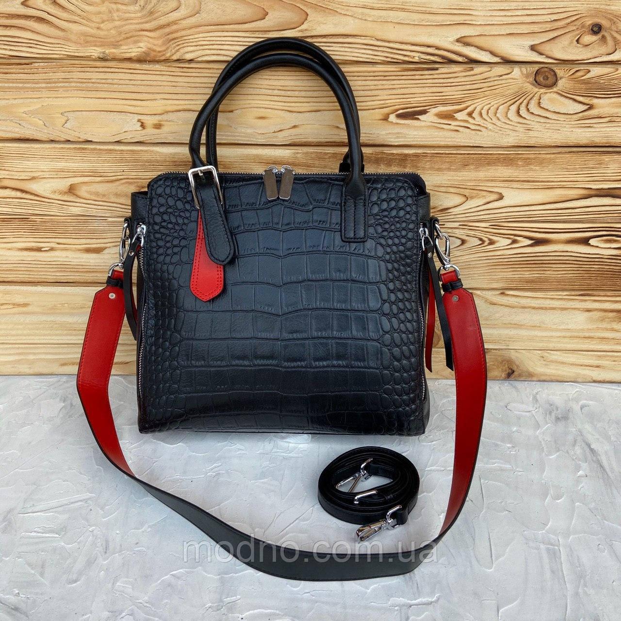 Жіноча шкіряна сумка зі структурою крокодила чорного кольору