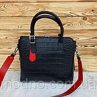 Жіноча шкіряна сумка зі структурою крокодила чорного кольору, фото 6