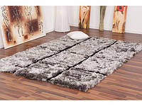 Ворсовые ковры Shaggy, ковры с большим ворсом стального цвета, пушистые ковры, фото 1