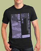 Мужская футболка прекрасного качества, хлопковая  с принтом TOKYO-SHIBUYA