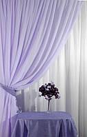 Готовые Шторы комплект для спальни из легкой ткани вуаль ФИАЛКА цвета 6м