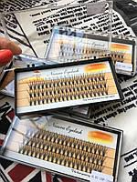 Ресницы пучковые 20D накладные 14 мм 0.07 С шелковые черные Nesura