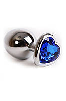 Анальная пробка металлическая с синим камнем сердце А-1196