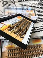 Ресницы пучковые 20D накладные 13 мм 0.07 С шелковые черные Nesura