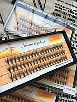 Ресницы пучковые 20D накладные 9 мм 0.07 С шелковые черные Nesura