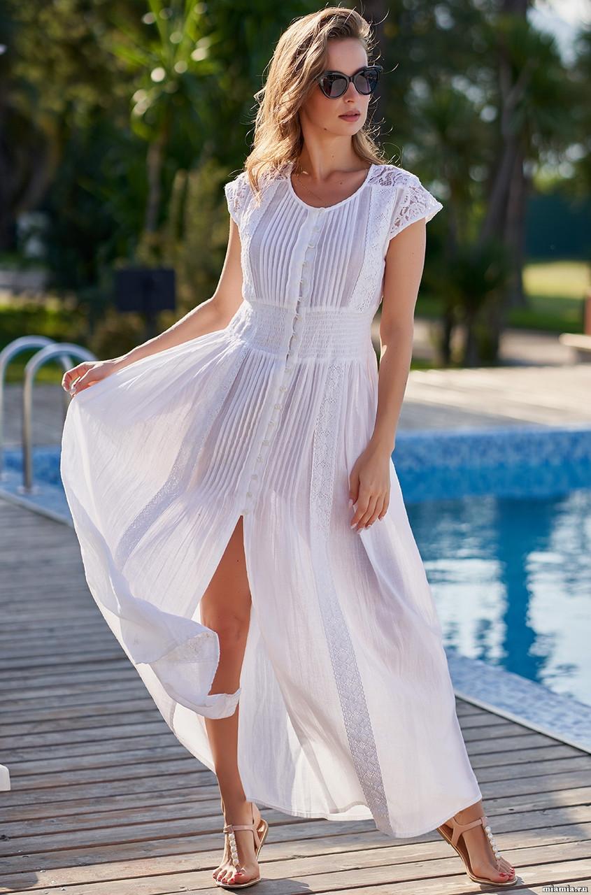 Белое платье из хлопка с кружевом. Mia-Mia Аргентина 1380