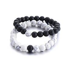 Парные этнические браслеты «Инь-Янь» из натуральных камней черный белый