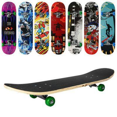 Скейт MS 0322-2 78-20см,алюм.подвеска,колесаПВХ,7слоев,608Z,макс.нагр.40кг,микс видов