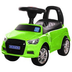 Каталка-толокар M 3147A-5 музыка, свет,резин.покр.колеса,на бат-ке,длина62см,зеленый