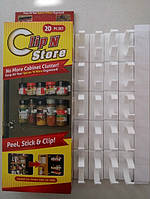 Держатель для специй и соусов - Clip n Store на 4 планки, размер 255х28х38мм, пластик, кухонный органайзер, органайзер