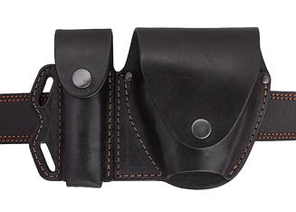 Чехол двойной под магазин ПМ + наручники, чехол для наручников, подсумок для магазина ПМ (кожаный, черный)