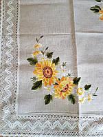 Скатерть из натурального льна с вышивкой подсолнух  180х130