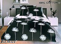 Комплект постельного белья евро двуспальный хлопковый Elway 5037 черно-белый в одуванчики