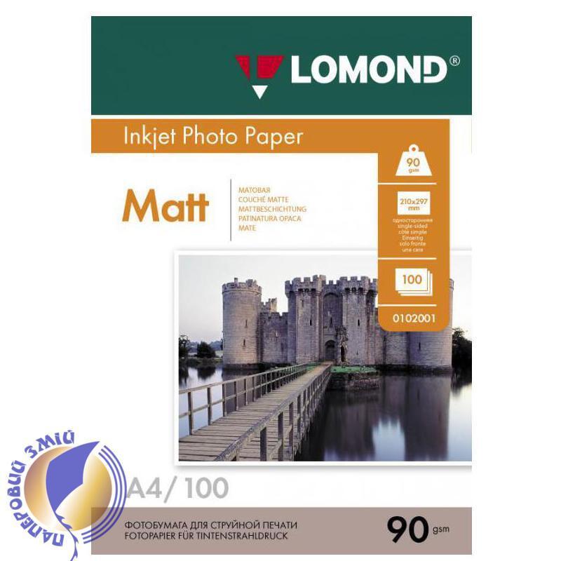 Односторонняя матовая фотобумага для струйной печати, A4, 90 г/м2, 100 листов