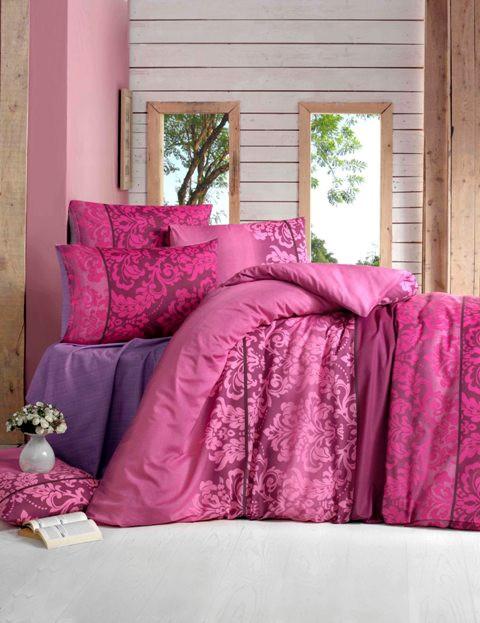 Двуспальный комплект постельного белья Бязь голд OYKU бордовый  200*220 см. (34571_2,0)