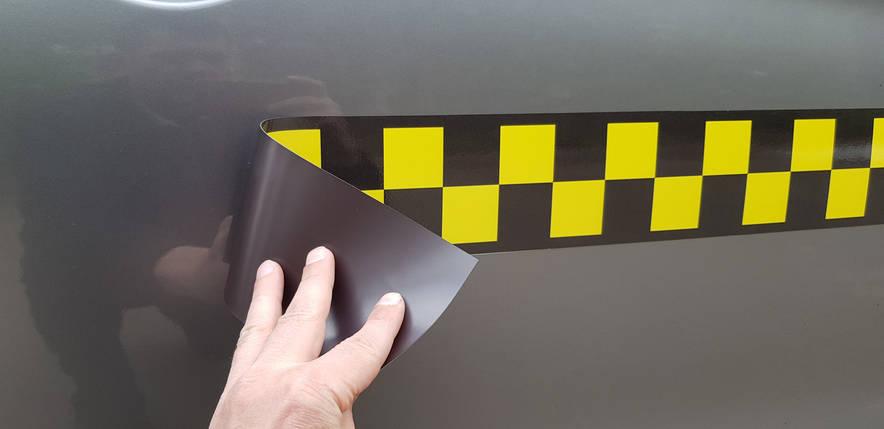 Шашки для такси в два ряда, на магните, самофиксирующиеся (10х50 см - 2 шт. в комплекте), фото 2