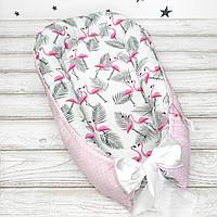 """Кокон-гнёздышко для новорожденного с кокосовым матрасиком """"Flamingo"""""""