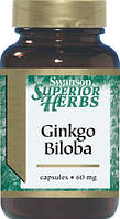 Гинкго Билоба (Стандартизированный), 60 мг, 120 капсул, Ginkgo Biloba, Swanson Superior Herbs