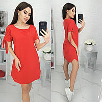 Стильное свободное платье с завязками, красное