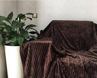 Покривало плед смужка Шарпей Євро 200х230 см Шоколад