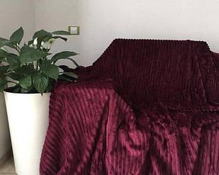 Покривало плед смужка Шарпей Євро 200х230 см Вишня