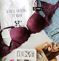 Бюстгальтер на косточках, цвет фиолетовый, спина ажурная ,размер 85С ,Fnniss