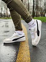 Кроссовки осенние стильные мужские кожаные PUMA Пума белый с черным