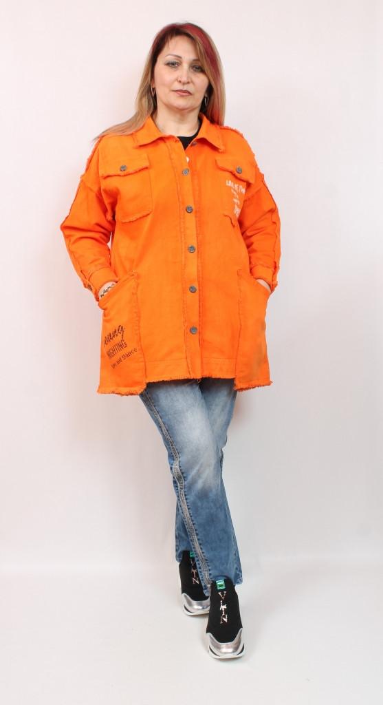 Джинсовый женский оранжевый кардиган производства Турция, размеры 50-64