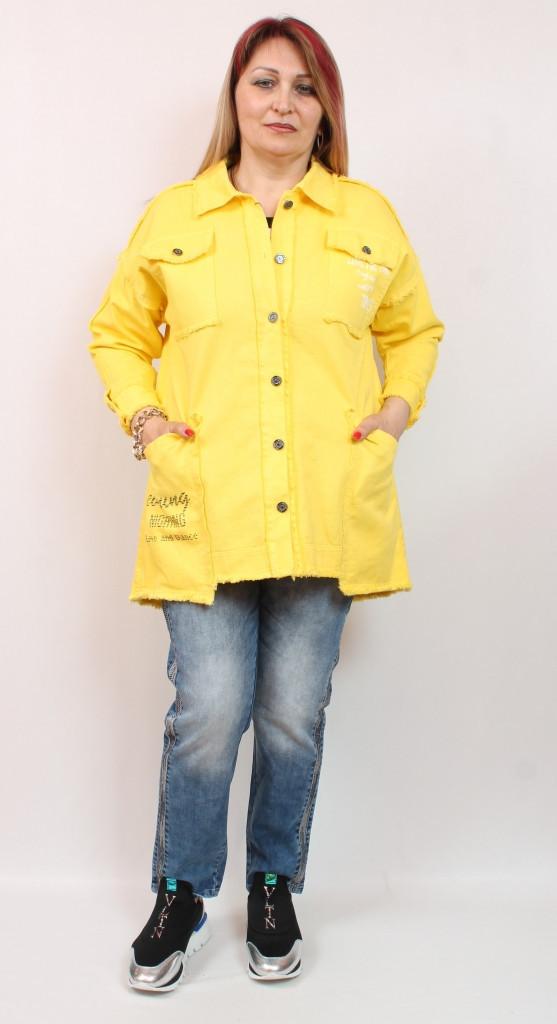Джинсовый женский желтый кардиган производства Турция, размеры 50-64
