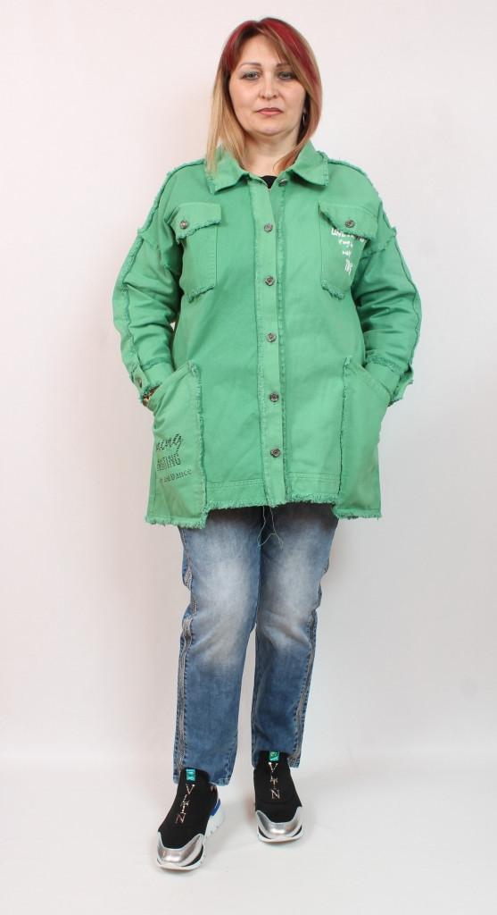 Джинсовый женский зеленый  кардиган производства Турция, размеры 50-64