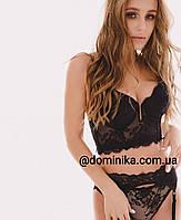 Кружевное женское нижнее белье , бюст корсетного типа weiyesi  80С черный цвет