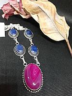 Сапфир агат ожерелье с камнем сапфир и Ботсванский агат в серебре. Колье с сапфиром и агатом. Индия!, фото 1