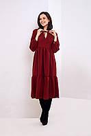 Женское платье А-Силуэта с воланами цвета марсала
