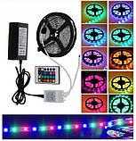 Світлодіодна LED стрічка 3528 RGB 12V кольорова 5м + пульт + блок, фото 2