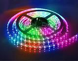 Світлодіодна LED стрічка 3528 RGB 12V кольорова 5м + пульт + блок, фото 3