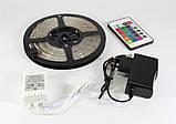 Світлодіодна LED стрічка 3528 RGB 12V кольорова 5м + пульт + блок, фото 4