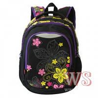 Рюкзаки для девочек Winner Stile 31*19*47 ( чёрный с цветами, чёрный с совами, чёрный с стрекоза)