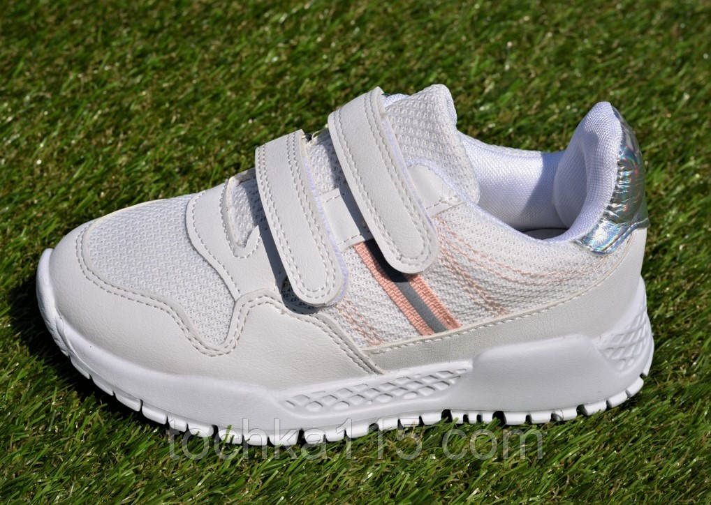 Кросівки дитячі на липучках Nike найк білі 31-36, копія