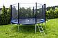Великий Батут Atleto 374 см. Захисна Сітка + Сходи (150 кг навантаження) Синій, фото 2