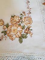 Скатерть из  искусственного льна  с вышивкой крестиком  220х150 на прямоугольный стол