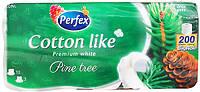 """Туалетная бумага Perfex """"Cotton like"""", с ароматом сосны, 3 слоя, 10 шт, 200 метров"""