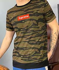 Мужская камуфляжная футболка с логотипом Supreme, суприм,Реплика