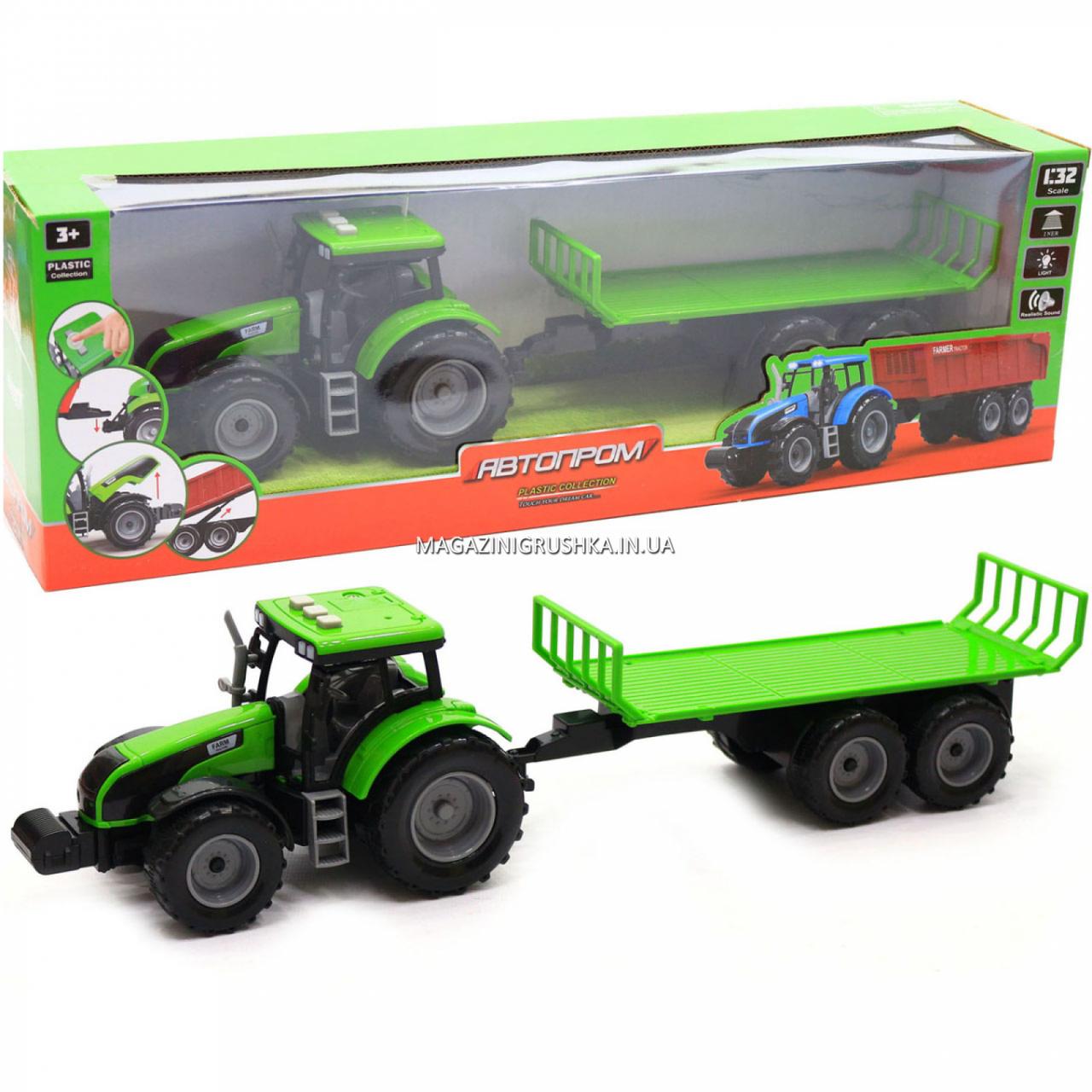 Машинка игровая автопром «Зеленый трактор с открытым прицепом» (свет, звук, пластик) 7925ABCD