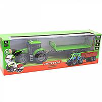 Машинка игровая автопром «Зеленый трактор с открытым прицепом» (свет, звук, пластик) 7925ABCD, фото 2