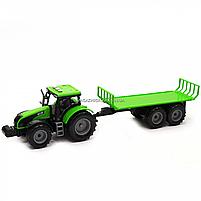 Машинка игровая автопром «Зеленый трактор с открытым прицепом» (свет, звук, пластик) 7925ABCD, фото 3
