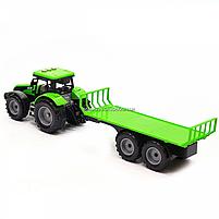 Машинка игровая автопром «Зеленый трактор с открытым прицепом» (свет, звук, пластик) 7925ABCD, фото 4