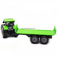 Машинка игровая автопром «Зеленый трактор с открытым прицепом» (свет, звук, пластик) 7925ABCD, фото 6