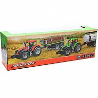 Машинка игровая автопром «Зеленый трактор с открытым прицепом» (свет, звук, пластик) 7925ABCD, фото 7